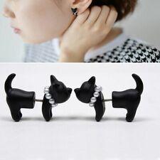 1Pair Fashion Stereoscopic Cat Kitten Impalement Women Stud Earring Black Punk