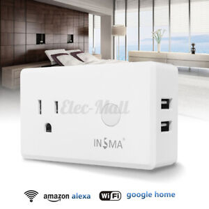 Smart Wi-Fi Socket Outlet Timer Power ON/OFF Electric Alexa APP+Voice Control U