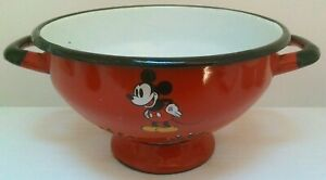 VINTAGE MICKEY MOUSE DISNEY RED ENAMEL COLANDER POLAND BADLY CHIPPED RARE