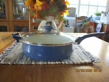 Farberware New Traditions Cookware Blue w/Lid & Blue Handles 5Qt. Frying Pan GUC