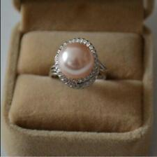 new Pink AAA+11-12mm Perfect South Sea Akoya Genuine Pearl Silver Ring Size 8