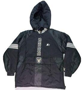 Oakland Raiders NFL Pro Line Puffy Jacket Starter Half Zip Hoodie Black vintage