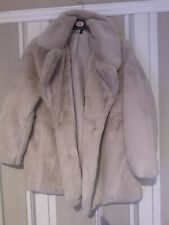H&M Iconic Cream Soft Faux Fur Coat With Lapels Size small Bloggers Fav Bnwt