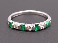 14k White Gold .50ct Round Cut Emerald Diamond 3mm Wedding Band Ring Size 6.5