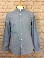 FARAH MENS UK M BLUE LONG SLEEVE SLIM FIT STEEN OXFORD SHIRT SUMMER SMART