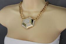 Women Gold Necklace Metal Chain Big Geometric Botton Charm Fashion Jewelry Urban