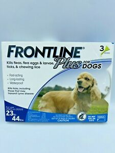 NEW Frontline Plus FLEA & TICK TREATMENT Dogs 23 - 44 lbs Medium 3 Doses