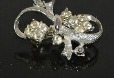 Vintage Crystal mounted in Silver Tone Metal Ribbon Bow Brooch Pin