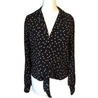 Oasis Tie Front Blouse UK 8 Black Polka Dot Long Sleeve Shirt Spotty Brand New