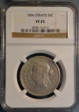 1896 Straits Settlements 50 Cents Silver Coin, NGC VF25, Nice Coin