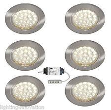 6 x LED RECESSED UNDER CABINET LIGHT KITCHEN CUPBOARD SHELF DISPLAY WARM WHITE