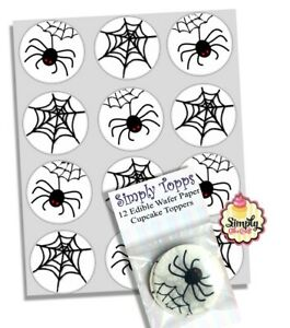 Cupcake Toppers Halloween Spider Web Pre-cut Wafer Edible Decoration 40mm x 12