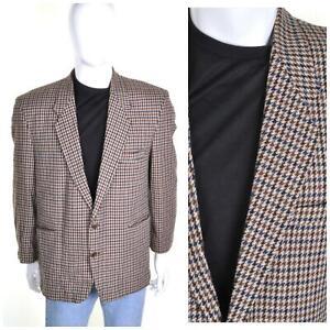Vintage 70s Laine Veste Tweed L 42R Marron Poule Carreaux Blazer de Sport Mod