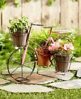 Vintage Metal Bike Bicycle Planter Garden Yard Lawn Art Home Decor - Pink