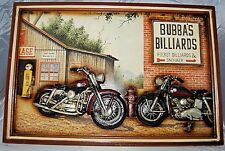 Bubba's Billiards Motorcycle Pub Gameroom Sign Art Polyresin/MDF, 3D Art