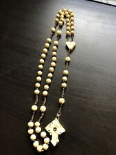 Vintage antique Carved Beads Stanhope Rosary Necklace
