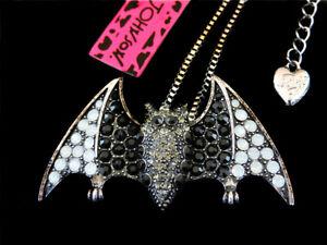 Betsey Johnson Black Crystal Lovely Bat Pendant Chain Sweater Necklace
