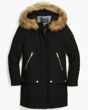 NWT J Crew Chateau Parka Stadium Cloth Wool Black Coat Size 12 $365 SOLD OUT!