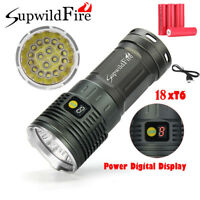 200000 LM Supwildfire 18X XML T6 LED Hunting Tactical Flashligt 4X18650 Torch