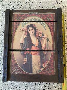 Vintage OLYMPIA Brewing Co. Washington BEER Sign Wood Bar Wall Girl