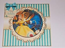Handmade Greeting Card 3D Birthday With Beauty And The Beast  Sentiment Inside
