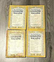 Antique Vintage 1937 - 1938 National Geographic Magazines Lot of 4