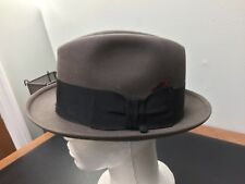 Boyd's Hatmakers Sz 7 1/8 Taupe/Brown Fedora Ribbon Feather Detail