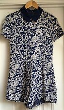 Missguided Navy Blue Paisley Play Suit With Collar Size 10