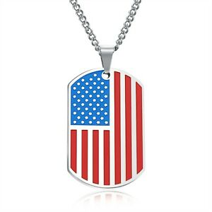 Stainless Steel American Flag USA Dog Tag Pendant & Necklace w/ or w/o Color