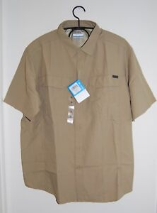 NWT Columbia Men's Big & Tall Khaki Tan Silver Ridge SS Button Front Shirt sz 1X