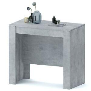 Tavolo consolle allungabile grigio cemento 10 posti salvaspazio multiposizione