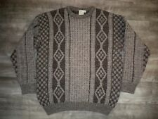 Cable Hand Knit Vintage Iceland Icelandic Fisherman Sweater Coat Men's Size XL