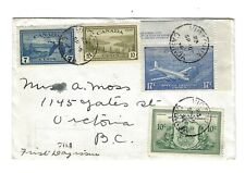 Canada 1946 PTO First Day Cover Peace Set complet & Special Delivery  (9 stamps)