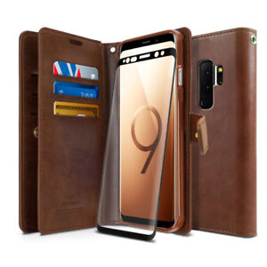 For Galaxy S9 / Note10 Dual Leather Wallet Flip Book Case GLASS SCREEN PROTECTOR