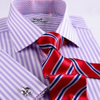 Mens Lilac Herringbone Formal Business Dress Shirt Soft Purple Striped Boss A+