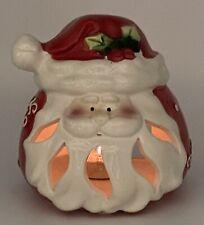 Great Ceramic Cutout Santa Christmas Tea Light Votive Candle Holder Xmas