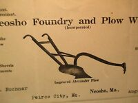 1920 NEOSHO FOUNDRY & PLOW WORKS Made in the Ozarks #3 BILL HEAD