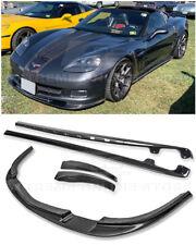 ZR1 Style CARBON FIBER Front Lip Splitter Side Skirts For 05-13 Corvette C6 Z06