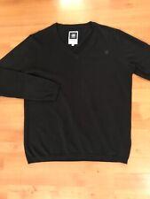 G STAR Raw Black Sweater V-Neck Luxury Cotton Pullover Men's -Sz L