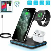 3 in1 Qi Wireless Charger Fast Charging Dock Watch Phone Earphone Stand Station