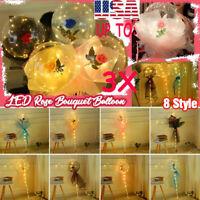 Luminous LED Balloon Round Bubble Decor Red White Rose Wedding Valentine Gift ღღ