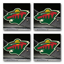 Minnesota Wild Hockey Rubber Square Coaster set (4 pack) SRC2074
