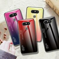 For LG G8 ThinQ G7 V60 ThinQ Luxury Gradient Tempered Glass Phone Case Cover