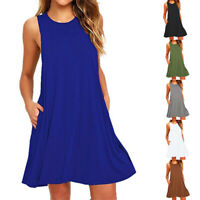 Women Summer Pullover Sleeveless Vest Dress Midi Long Dress Beach Sundress