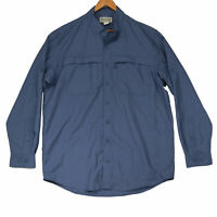 Duluth Trading Co. Men's Blue Vented Long Sleeve Button Up Shirt Size Large Tall