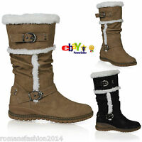 D6Y Womens Fur Lined Warm Mid Calf Biker Boots Winter Under Knee Ladies Shoes