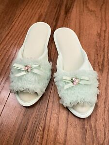 Sears Vintage 1960s Nylon Mint Rosettes House Slippers Size Small 5 - 6.5
