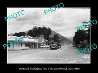OLD LARGE HISTORIC PHOTO OF PACKWOOD WASHINGTON, THE MAIN STREET & STORES c1950