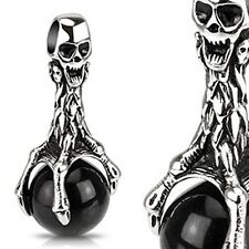 Stainless Steel Skull Eagle Claw Clasping Over Black Orb Pendant P204