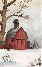 ACEO RYTA PRINT OF PAINTING XMAS RAVEN CROW BARN WINTER LANDSCAPE FOLK FARM ART
